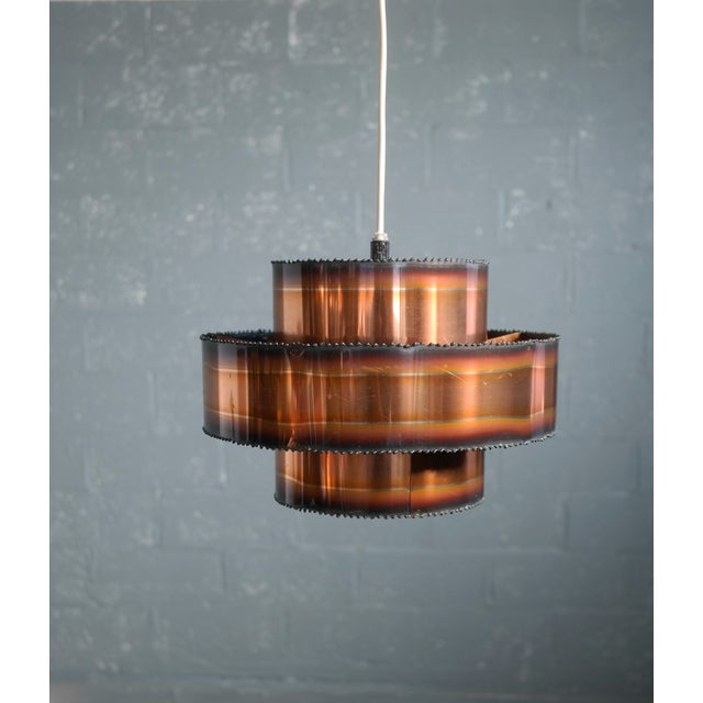 Iconic Brutalist Svend Aage Holm designed pendant lamp made from blow torched patinated copper manufactured by Holm...