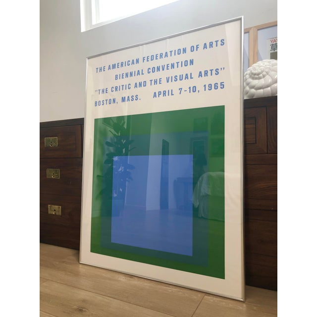 1965 Vintage Josef Albers Homage to the Square American Federation of Arts Framed Poster For Sale - Image 11 of 11