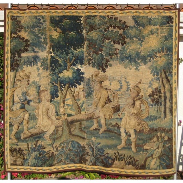 Blue 17th Century French Louis XIV Aubusson Tapestry Wall Hanging For Sale - Image 8 of 8