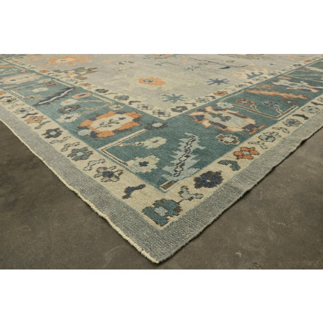 Oversized Turkish Oushak Rug With Coastal Bliss Vibes - 12'00 X 15'07 For Sale In Dallas - Image 6 of 10