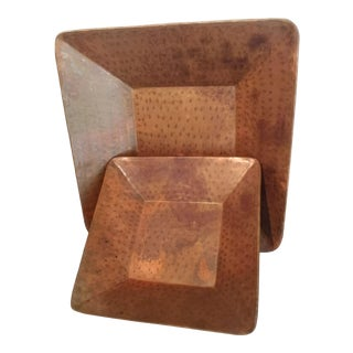 Square Copper Decorative Trays - A Pair For Sale