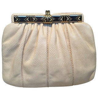 Judith Leiber Beige Lizard Leather Vintage Clutch For Sale