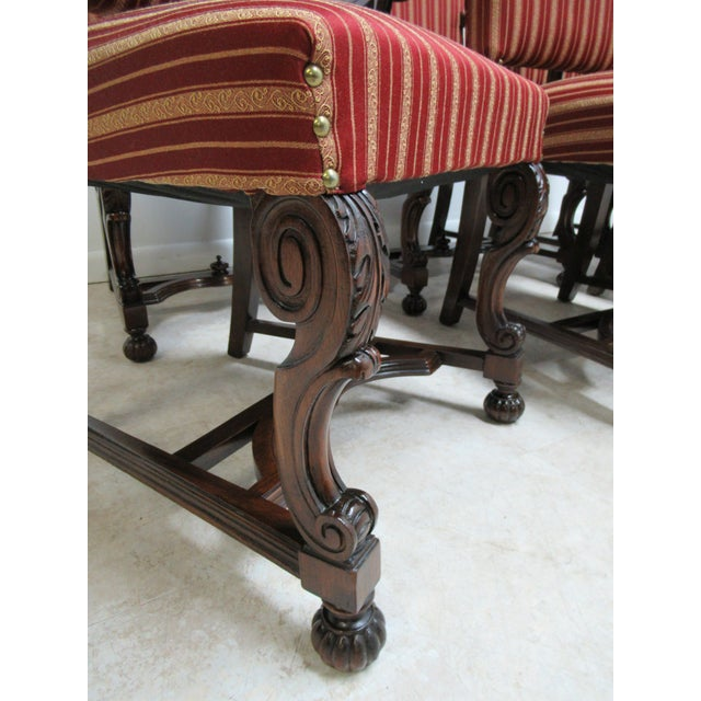 Antique Berkey Gay French Empire Walnut Dining Room Arm Chairs - Set of 6 For Sale In Philadelphia - Image 6 of 12