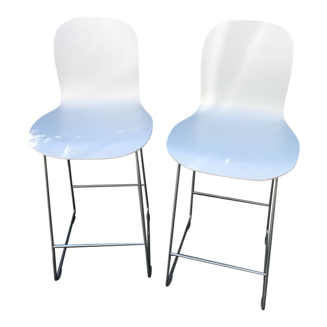 Cappellini Tate White Bar Stools - A Pair - Image 1 of 4