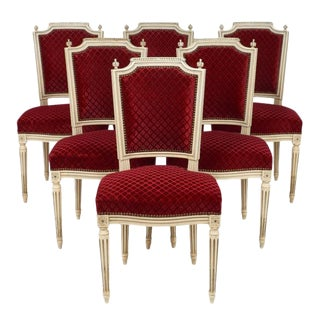 Louis XVI Style Velvet Dining Chairs - Set of 6 For Sale