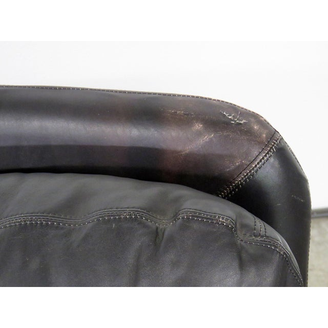 1970s Ammanti & Vitelli Italian Leather Chair and Ottoman For Sale - Image 5 of 9