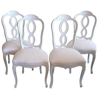 French 19th Century Louis XV Style Hand-Painted Newly Reupholstered Dining Chairs- Set of 4 For Sale