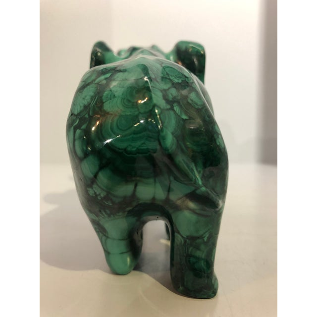 2000 - 2009 Malachite Elephant Carving For Sale - Image 5 of 7