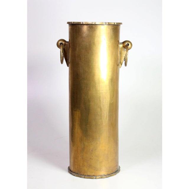 Hollywood Regency Vintage Solid Brass English Faux Bamboo Umbrella Cane Stand For Sale - Image 3 of 6