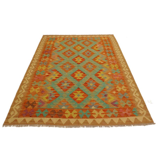 Contemporary Era Red/Green Hand-Woven Kilim Wool Rug -4'3 X 5'10 For Sale - Image 3 of 8