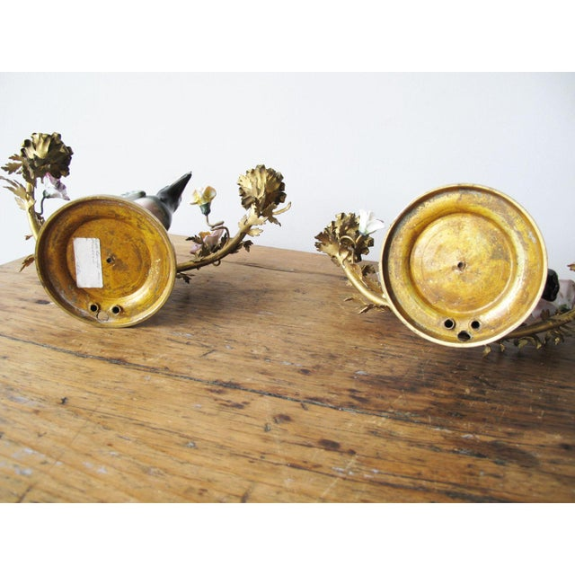 Late 19th Century Louis XV Style Porcelain and Gilt-Bronze Candelabras - a Pair For Sale - Image 5 of 6