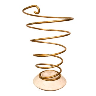 Bunny Williams Gold Spiral Umbrella Stand For Sale