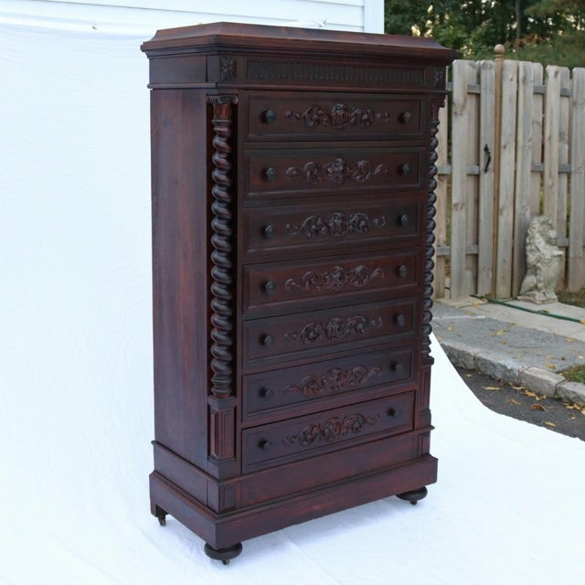 1870 Renaissance Revival Carved Walnut Dresser - Image 3 of 11