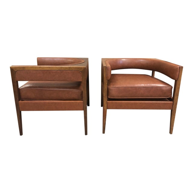 Pair Mid Century Modern Walnut Lounge Chairs For Sale