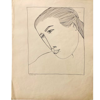 """Donald Stacy """"Upclose Portrait"""" 1953 Ink Mid Century Drawing For Sale"""