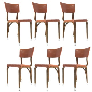 Set of 6 1950s Thonet Padded Bentwood Bent Plywood Dining, Cafe, or Desk Chairs For Sale