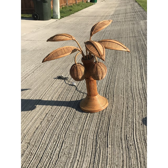 Boho Chic Mario Lopez Torres Rattan Palm Tree Table Lamp For Sale - Image 3 of 7