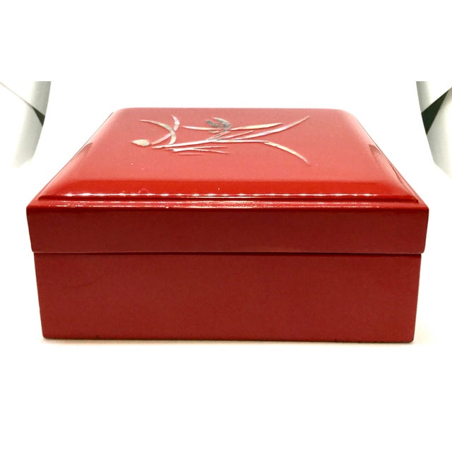 Vintage Red Japanese Lacquered & Mother of Pearl Box For Sale - Image 11 of 13