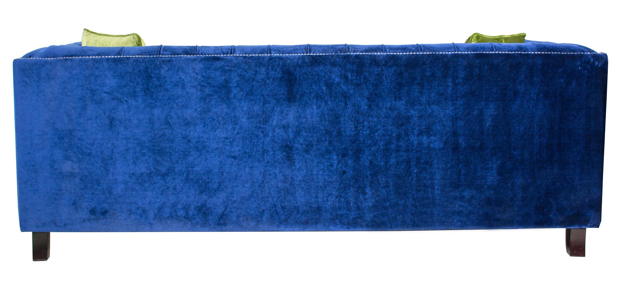 Pasargad Victoria Collecion Royal Blue Velvet Sofa   Image 7 Of 7