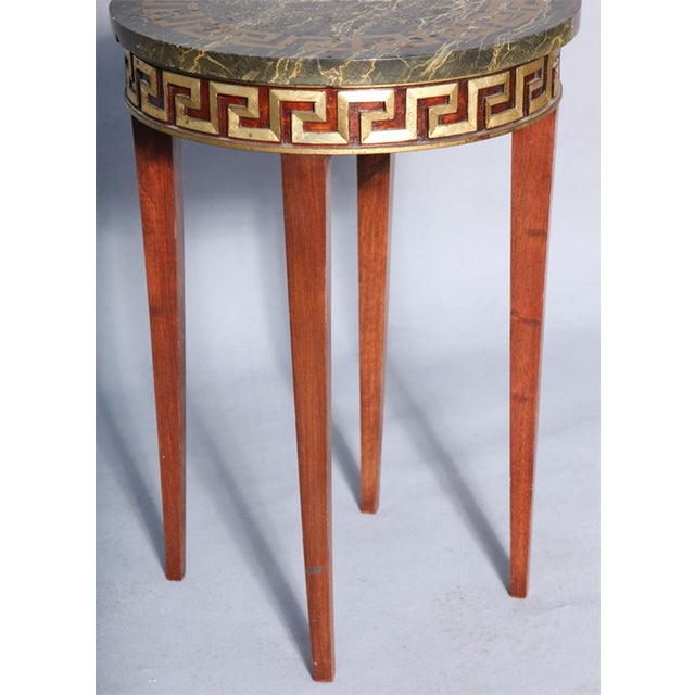 Greek Key Carved Accent Table - Image 6 of 10
