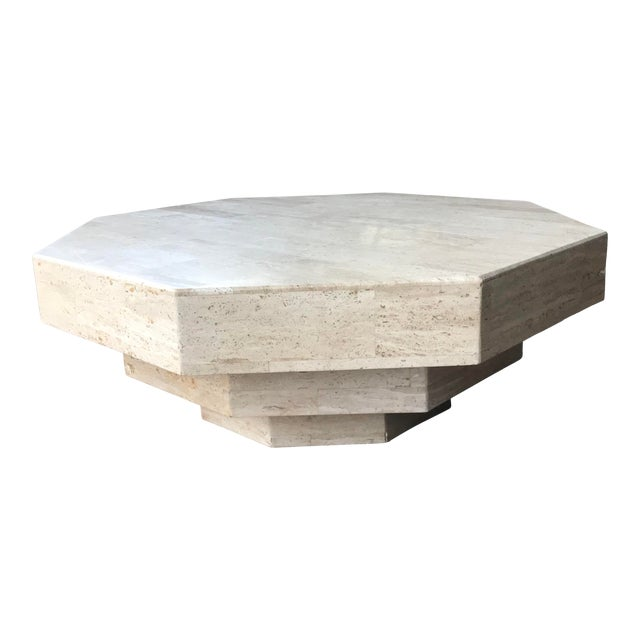 Octagonal Stacked Travertine Coffee Table For Sale