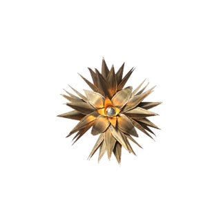 Maison Jansen Star Shaped Palm Tree Style Brass Sconce For Sale