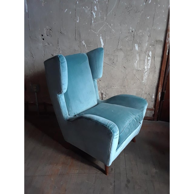 1960s Teal Velvet Wingback Chairs - a Pair For Sale In San Francisco - Image 6 of 7