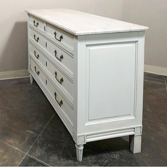 Antique Louis XVI Painted Marble Top Commode For Sale - Image 11 of 13