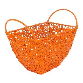 Orange Woven Wicker & Metal Basket