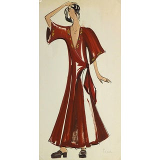 French Fashion Sketch - Red Wrap Dress For Sale