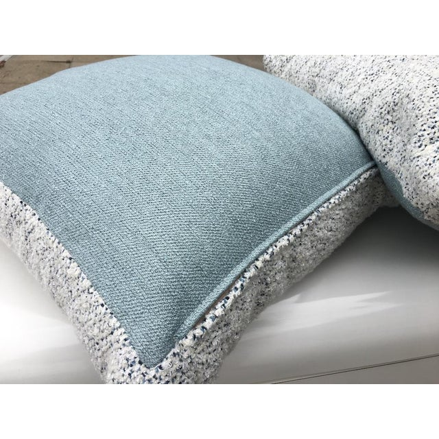 Custom White and Blue Boucle Pillows - A Pair For Sale - Image 4 of 9