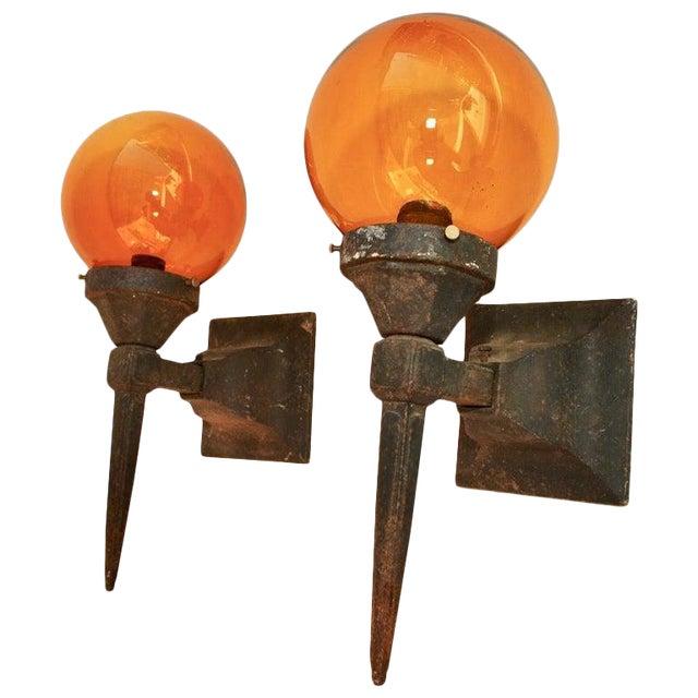 1920s Cast Iron Outdoor Sconces - a Pair For Sale