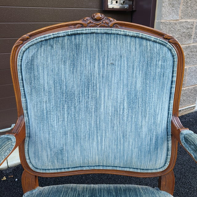 Wood Vintage French Provincial Carved Walnut Occasional Chair For Sale - Image 7 of 13
