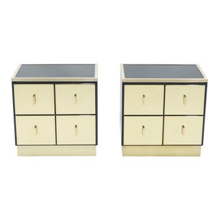 Italian Luciano Frigerio Black Lacquered Brass Nightstands - A Pair For Sale