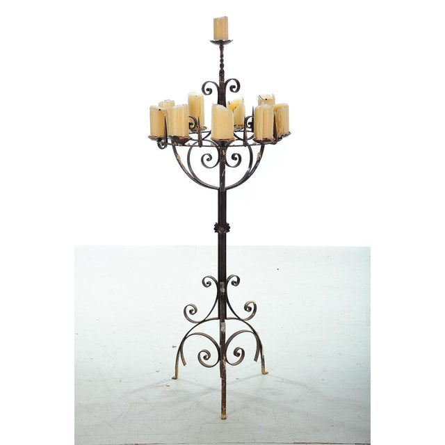 Spanish Revival Wrought Iron 8 Arm Candle Holder For Sale - Image 10 of 10