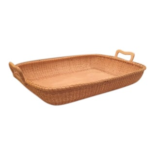 Nantucket Woven Basket Tray With Handles For Sale