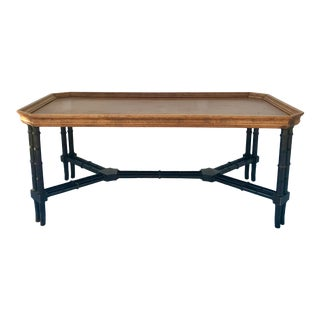 Vintage Chinoiserie Faux Bamboo Wood Coffee Table For Sale