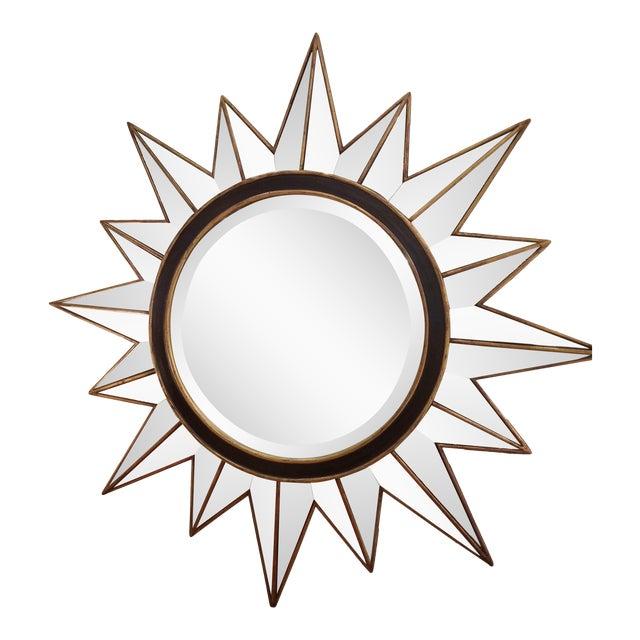 Modern Gold & Black Mirrored Sunburst Beveled Mirror - Image 1 of 3