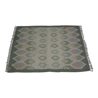"Swedish Flat Weave Rug - 4'6"" X 6'4"" For Sale"