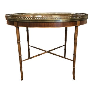 Late 20th Century Vintage Oval Gallery Side Table With Faux Bamboo Legs by Baker Furniture For Sale
