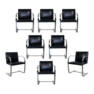Mid-Century Modern Set of 8 Chrome Cantilever Dining Armchairs Brno Knoll, 1970s For Sale