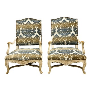 Carved Oak French Bergere Chairs - a Pair For Sale