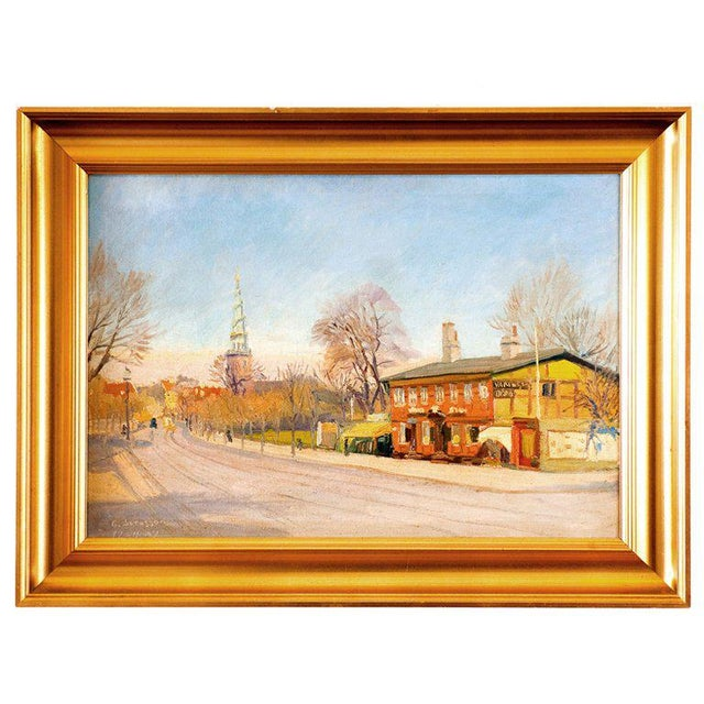 Danish oil painting by G. Svensson dated April 17th 1934. Color in photos are not accurate. Colors are wonderful.