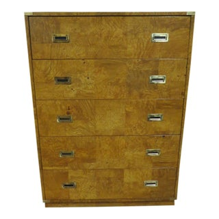1960s Vintage Bernhardt Mid Century Modern Campaign Style Burled Olive Wood Chest of Drawers For Sale