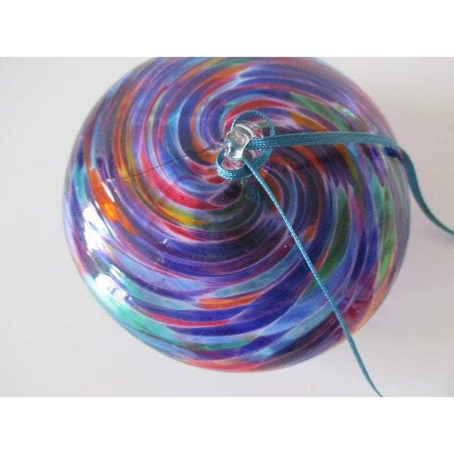 Modern Colorful Swirl Glass Christmas Ornament For Sale - Image 3 of 5