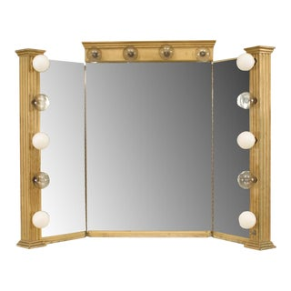 American (1920s) Gilt Wood 3 Section Dressing Table Mirror For Sale