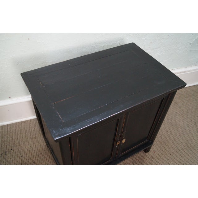 Rustic Black Chinese Cabinets or Chests - Pair - Image 2 of 10