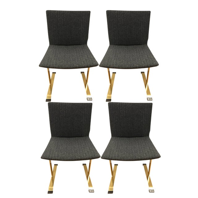 Brass Set of Giovanni Offredi Saporiti Italia Brass Dining Chairs Mid-Century Modern For Sale - Image 7 of 7
