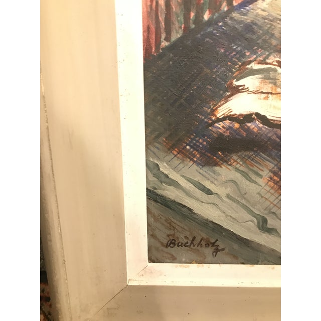 Mid-Century Modern Vintage Mid-Century Buccholz Gothic Butterflies Painting For Sale - Image 3 of 5