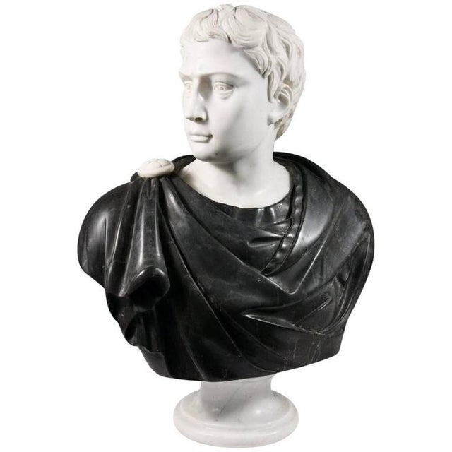 Stone Late 19th Century Black and White Italian Marble Bust of Roman Statesman For Sale - Image 7 of 7